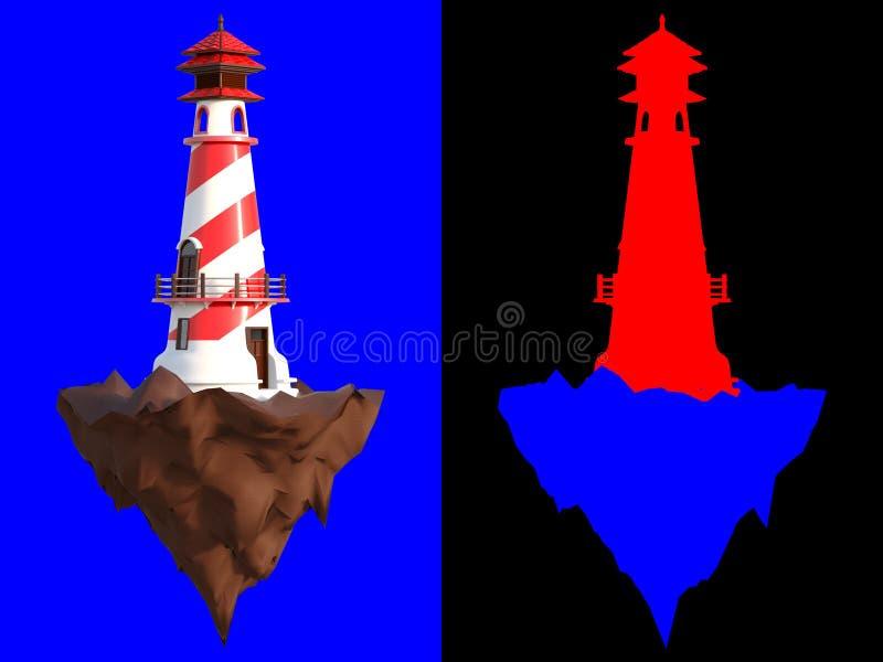 3D que rende um farol em uma ilha rochosa pequena no fundo azul com trajetos de grampeamento e na seção da identificação da cor p ilustração stock