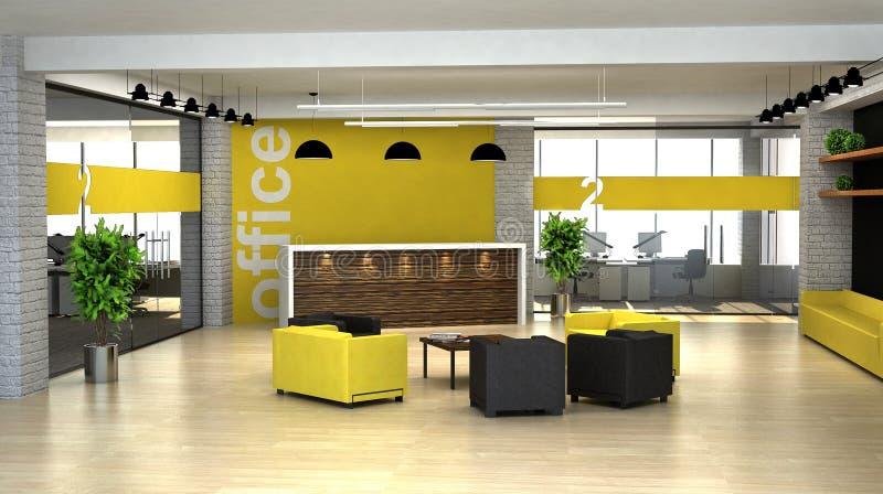 3d que rende um interior do escritório. Salão com recepção ilustração do vetor