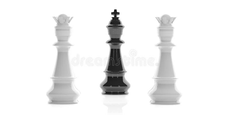 3d que rende um rei da xadrez e duas rainhas no fundo branco ilustração do vetor