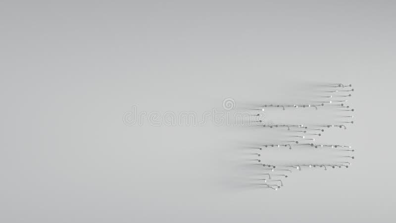 3D que rende v?rios pregos do metal na forma de n?o igual ilustração royalty free