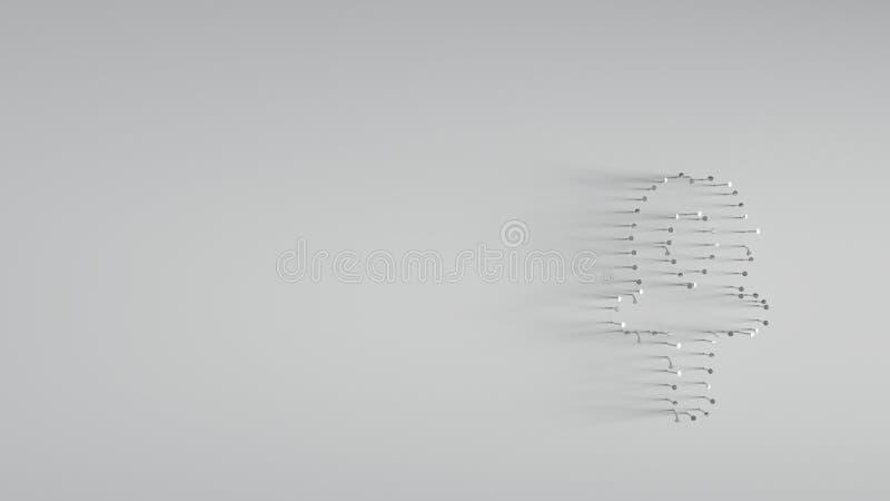 3D que rende v?rios pregos do metal na forma do s?mbolo do ankh ilustração stock