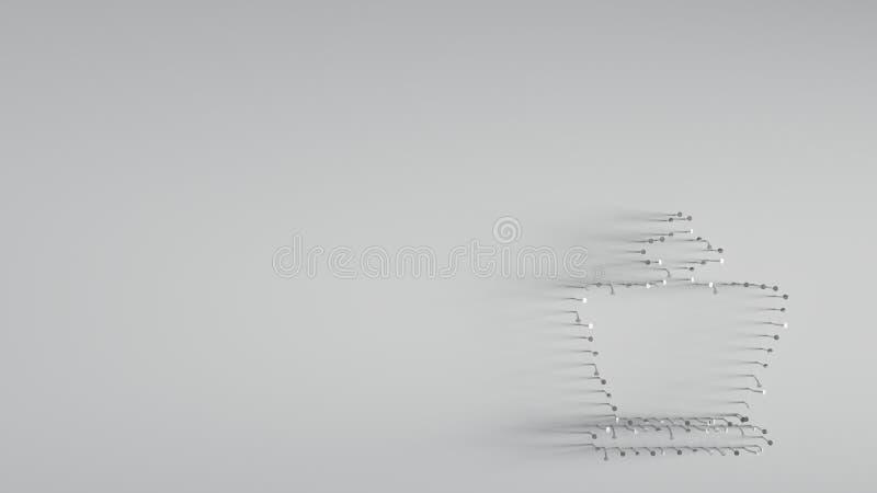 3D que rende v?rios pregos do metal na forma da parte do rei da xadrez ilustração do vetor