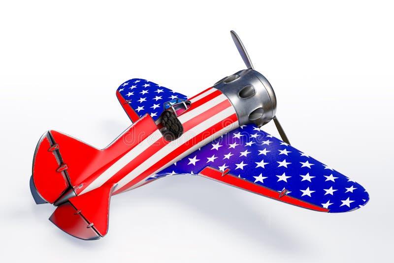 3d que rende a vista lateral do avião do vintage de Polikarpov com bandeira dos Estados Unidos, a 4o do Estados Unidos do Dia da  ilustração royalty free
