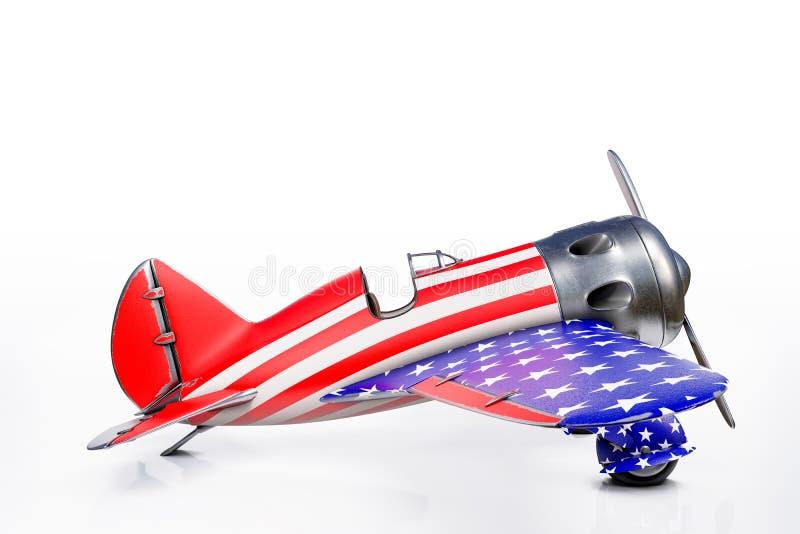 3d que rende a vista lateral do avião do vintage de Polikarpov com bandeira dos Estados Unidos, a 4o do Estados Unidos do Dia da  ilustração stock
