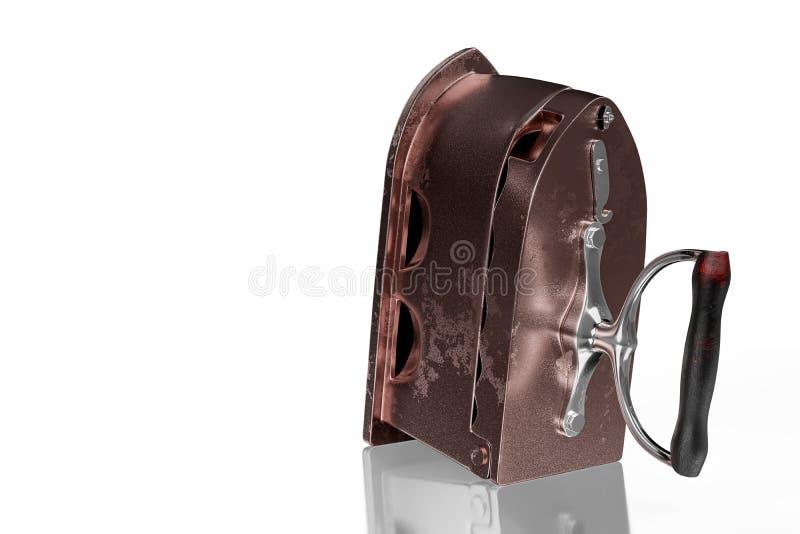 3d que rende a vista lateral do ferro oxidado antigo de carv?o com punho de madeira, isolada no fundo branco com trajetos de gram ilustração do vetor