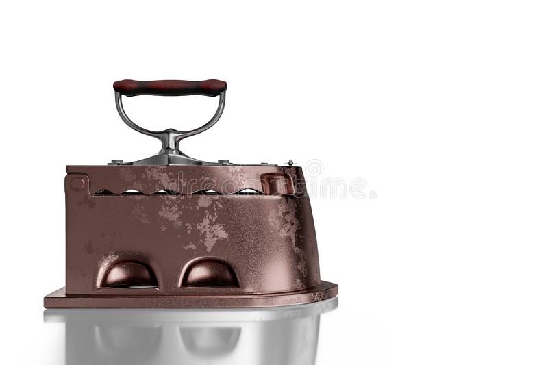 3d que rende a vista lateral do ferro oxidado antigo de carv?o com punho de madeira, isolada no fundo branco com trajetos de gram ilustração royalty free