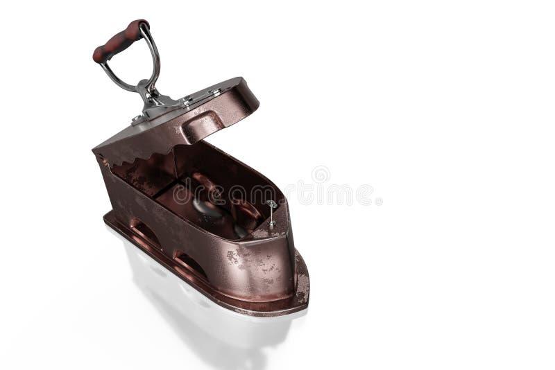 3d que rende a vista superior do ferro oxidado antigo de carvão com punho de madeira, isolada no fundo branco com trajetos de gra ilustração royalty free