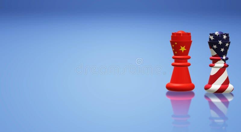 3d que rende a xadrez China do rei contra o conceito da guerra comercial de América ilustração royalty free