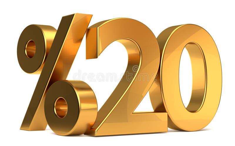 %20 3d que rendem o símbolo dourado ilustração stock