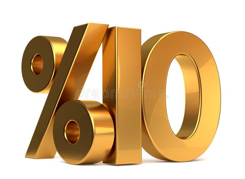 %10 3d que rendem o símbolo dourado ilustração royalty free