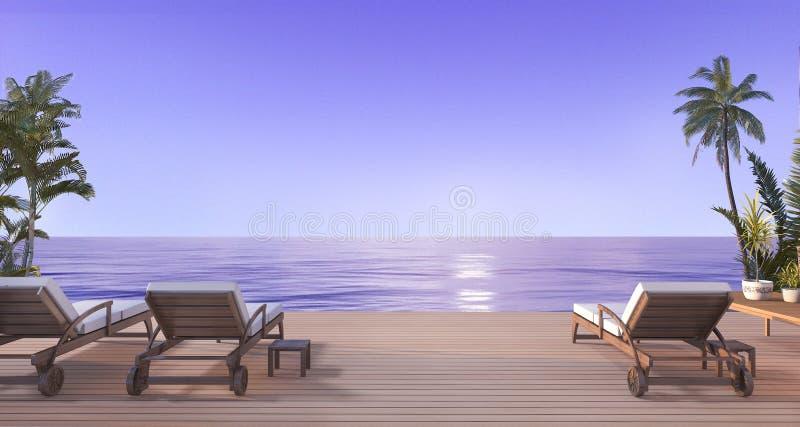 3d que rendem a praia bonita colocam no terraço perto da praia e do mar com opinião agradável do céu e na palmeira em Havaí na no ilustração stock