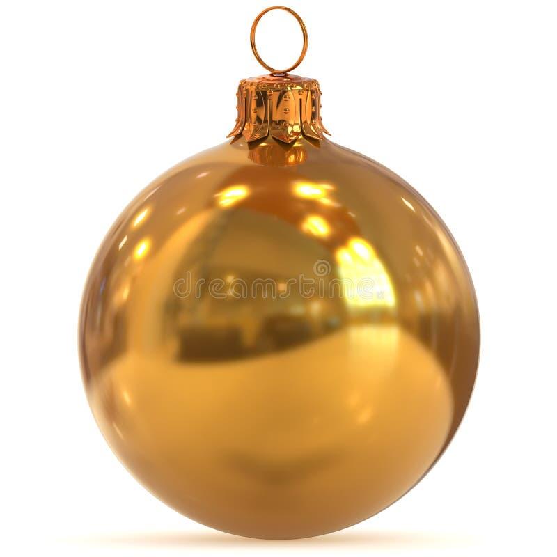 3d que rinde amarillo de oro de la decoración de la bola de la Navidad pulido ilustración del vector
