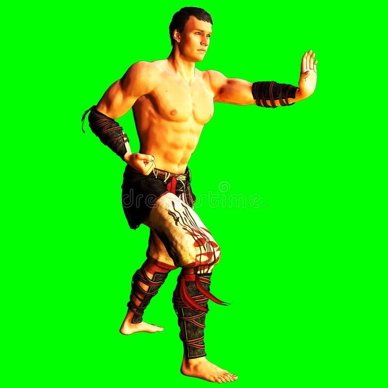 3D que rinde - artes marciales - la figura masculina el inining/fase que lucha libre illustration