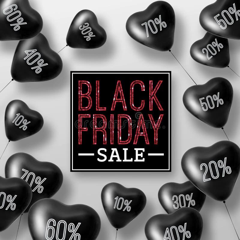 3D que rinde corazones del globo de la venta de Black Friday libre illustration
