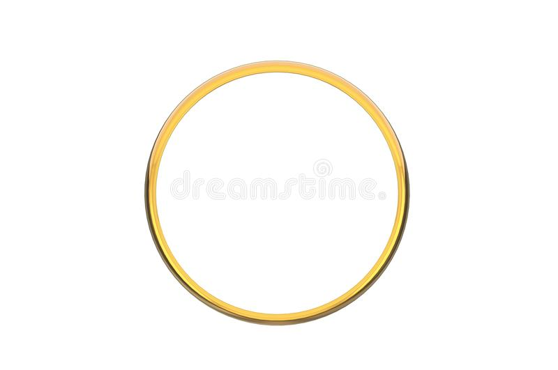 3D que rinde el anillo de oro de la vista delantera aislado en el bakcground blanco stock de ilustración