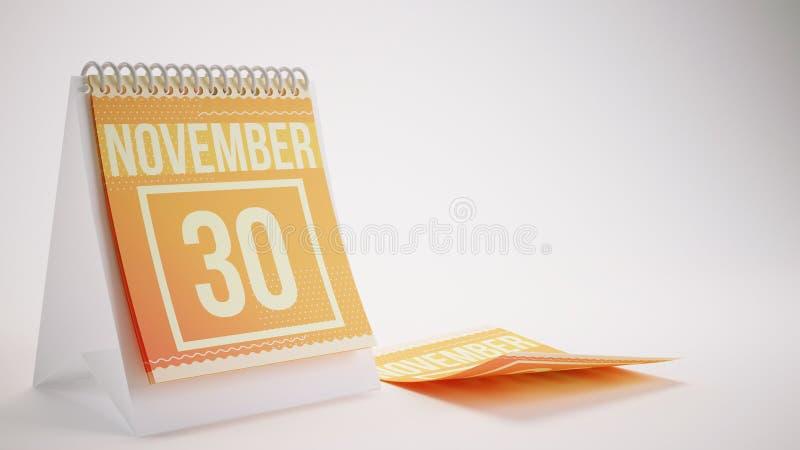 3D que rinde el calendario de moda de los colores en el fondo blanco - novemb foto de archivo