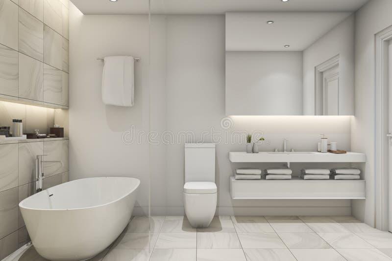 3d que rinde el cuarto de ba o blanco del lujo del m rmol for Marmol blanco cristal