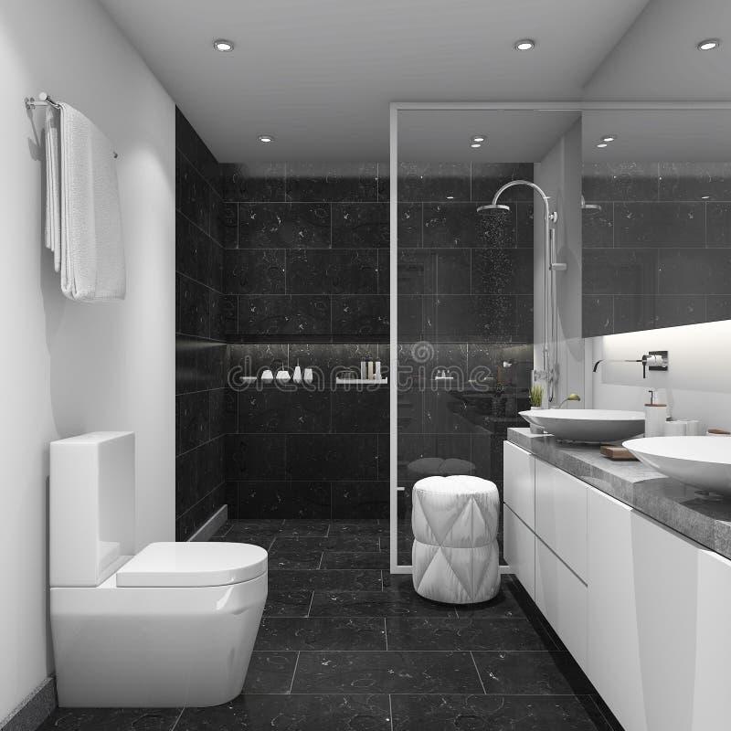 3d que rinde el cuarto de ba o moderno del estilo de la teja oscura stock de ilustraci n - Stock piastrelle bagno ...