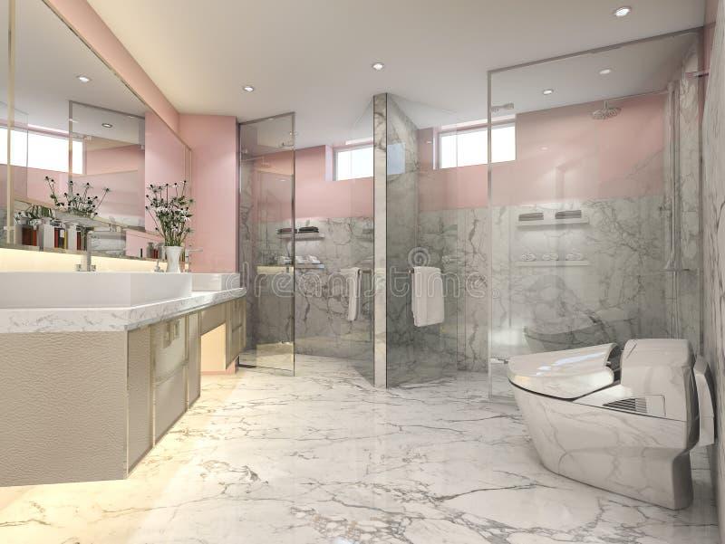 3d Que Rinde El Cuarto De Baño Moderno Rosado Del Vintage ...