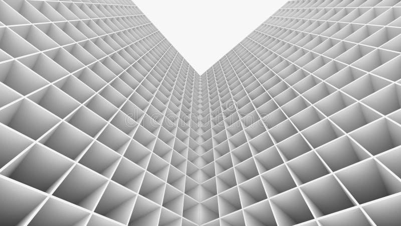 3D que rinde el edificio abstracto aislado en el fondo blanco ilustración del vector