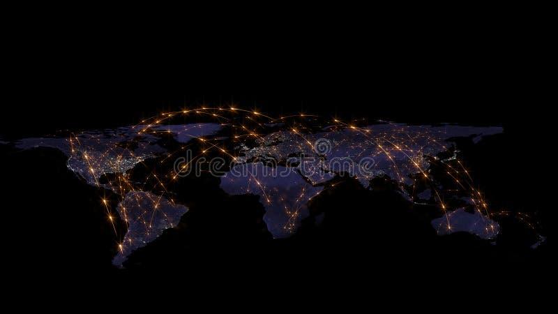 3D que rinde el extracto de la red del mundo, de Internet y del concepto global de la conexión Elementos de esta imagen equipados fotos de archivo