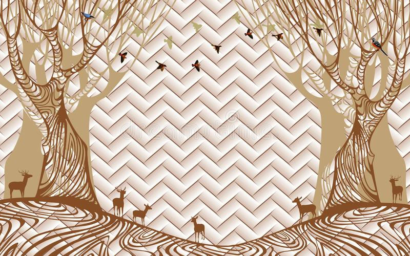 3d que rinde el extracto mural del mármol del papel pintado con el árbol marrón de oro de los pájaros de los ciervos stock de ilustración