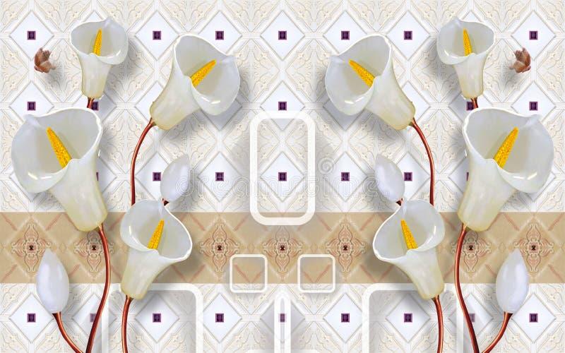 3d que rinde el extracto mural del papel pintado con el fondo blanco de mármol chino de las flores del árbol stock de ilustración