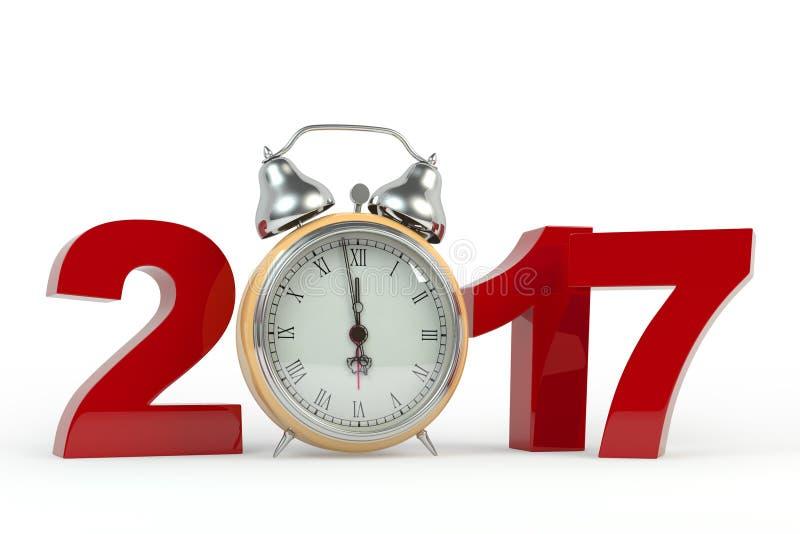 3D que rinde el fondo de la Feliz Año Nuevo 2017 con el reloj viejo imagen de archivo libre de regalías