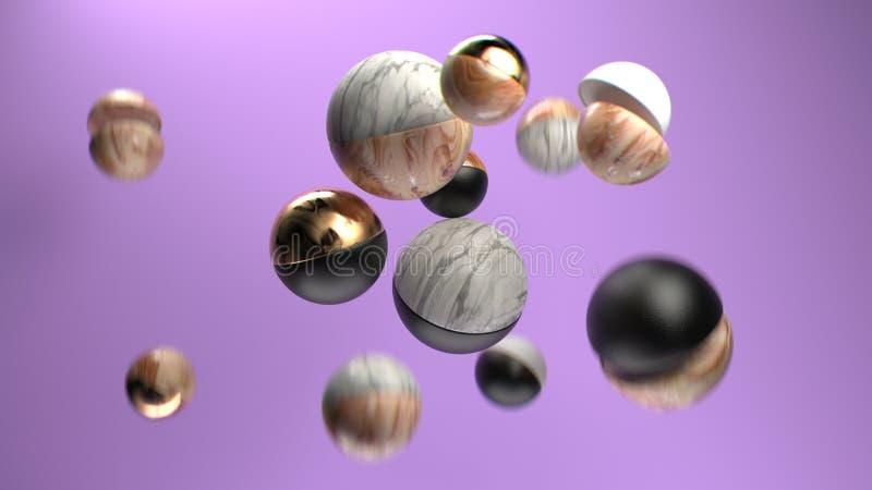 3d que rinde el grupo de esferas abstractas del mármol, del oro, de madera y del plástico ilustración del vector