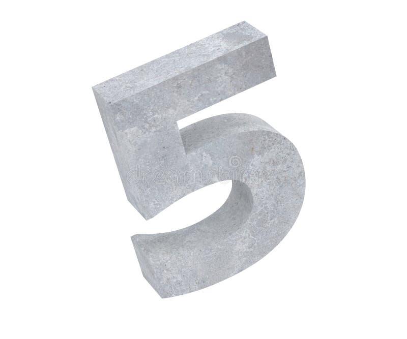 3D que rinde el número concreto 5 cinco 3d rinden la ilustración ilustración del vector
