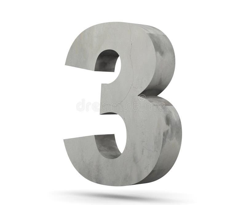 3D que rinde el número concreto 3 tres 3d rinden la ilustración ilustración del vector