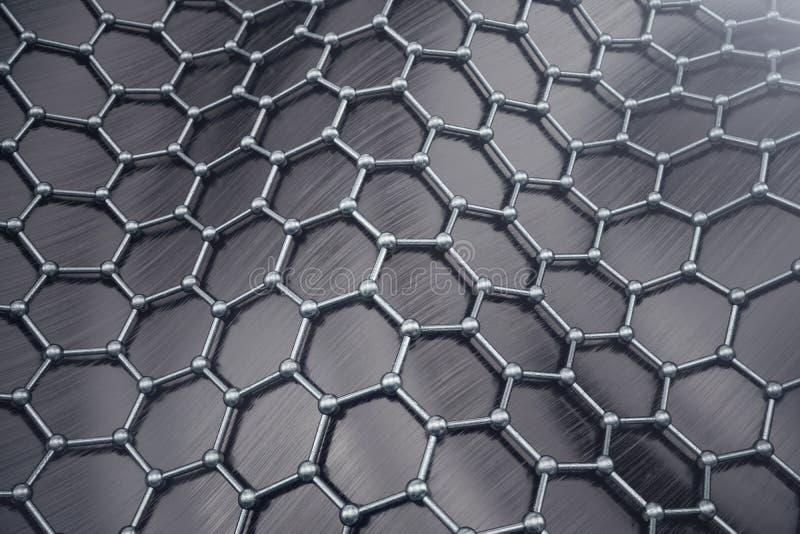 3D que rinde el primer geométrico hexagonal de la forma de la nanotecnología abstracta Concepto de la estructura atómica de Graph ilustración del vector