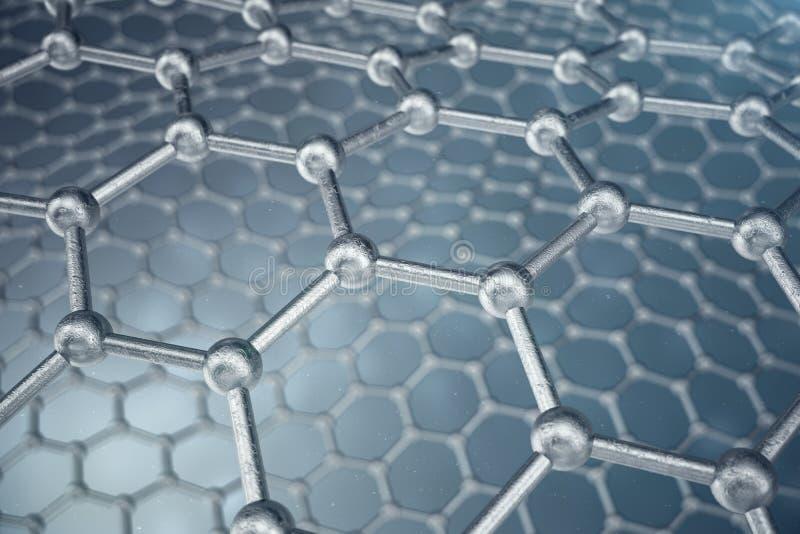 3d que rinde el primer geométrico hexagonal de la forma de la nanotecnología abstracta, estructura atómica del graphene del conce stock de ilustración