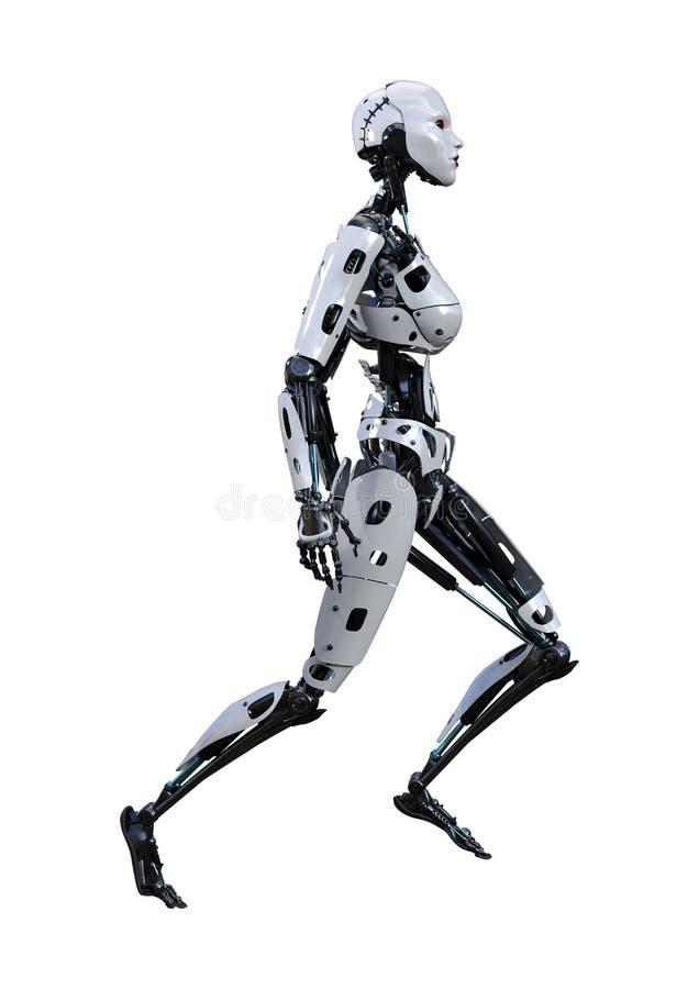 3D que rinde el robot femenino en blanco stock de ilustración