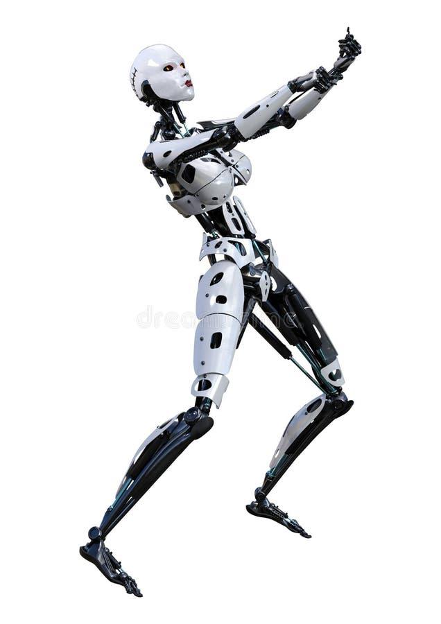 3D que rinde el robot femenino en blanco ilustración del vector