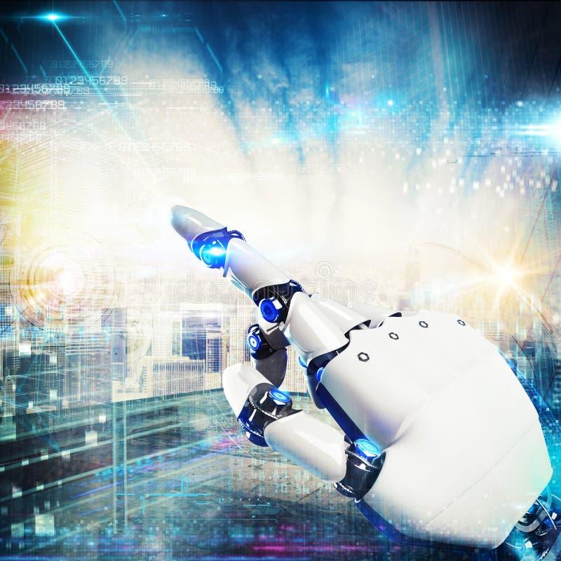 3D que rinde el robot futurista de la mano imagen de archivo