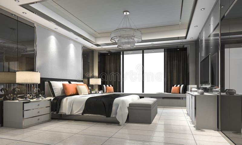 3d que rinde el suite de lujo moderno en hotel con la decoración libre illustration