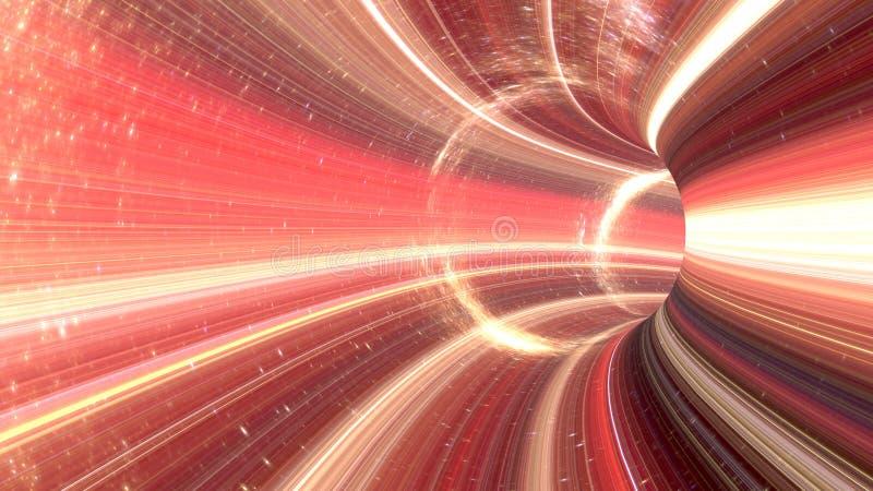 3D que rinde el túnel cósmico del wormhole ilustración del vector