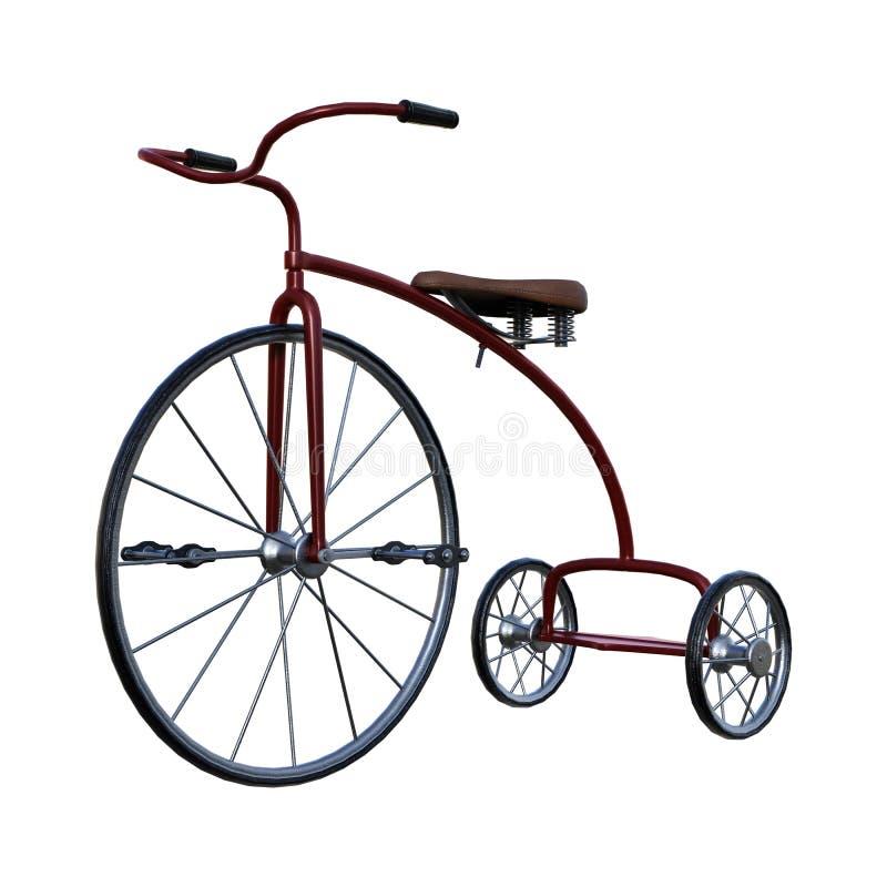 3D que rinde el triciclo retro en blanco ilustración del vector