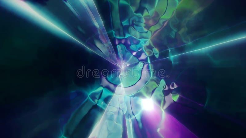 3D que rinde el vuelo a otra dimensión a través de un wormhole en el tiempo y el espacio Túnel brillante, de alta energía y de al ilustración del vector