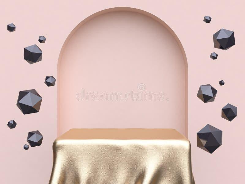 3d que rinde escena de la pared del extracto de la puerta del arco de la forma del cuadrado de la tela del oro stock de ilustración