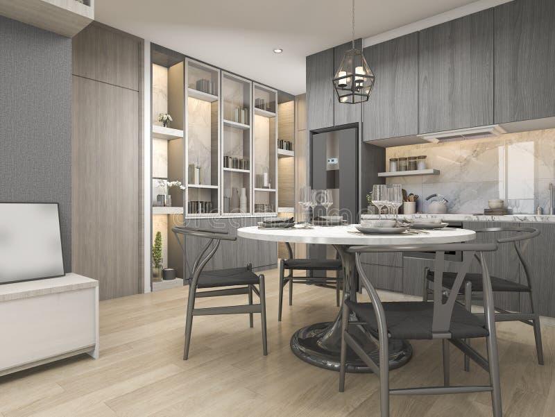 3d Que Rinde La Cocina Moderna Y De Lujo Blanca Del Diseño Con La ...