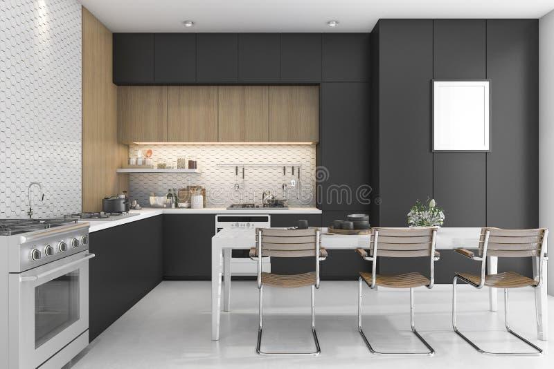 3d Que Rinde La Cocina Negra Con El Diseño De Madera Stock de ...