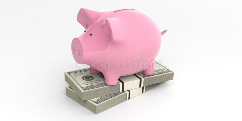 3d que rinde la hucha rosada en 100 billetes de banco del dólar libre illustration