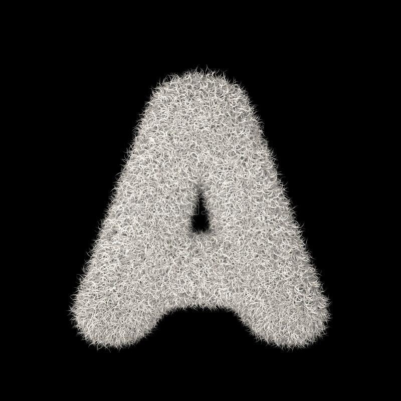 3D que rinde la letra peluda blanca A del ejemplo creativo ilustración del vector