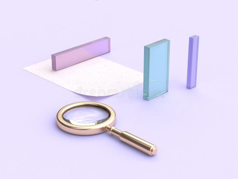 3d que rinde la lupa púrpura del oro de la forma del claro-vidrio de la escena stock de ilustración