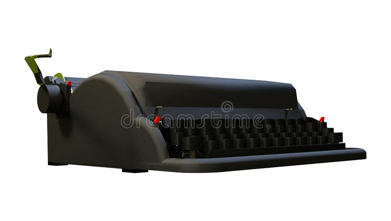 3D que rinde la máquina de escribir retra en blanco ilustración del vector
