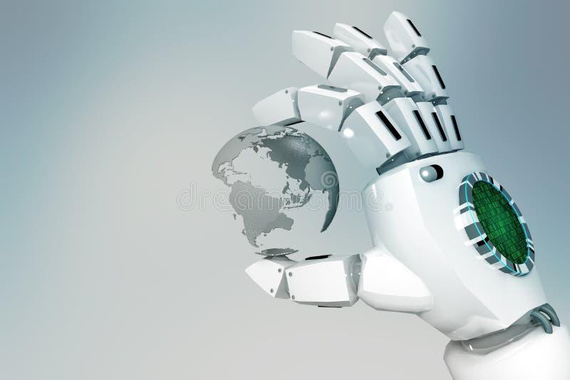 3D que rinde la mano del robot sostiene el globo en un fondo ligero ilustración del vector