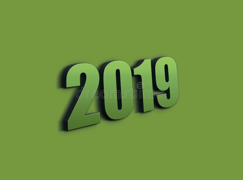 3D que rinde la muestra 2019 en fondo púrpura 2019 el símbolo, icono o botón, representa el Año Nuevo 2019 ilustración del vector