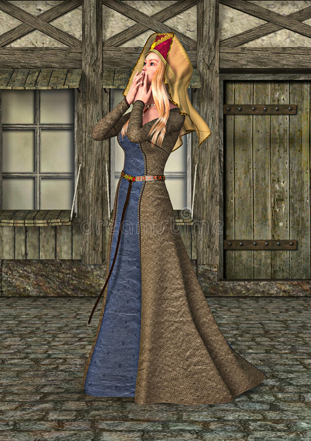 3D que rinde a la señora medieval ilustración del vector